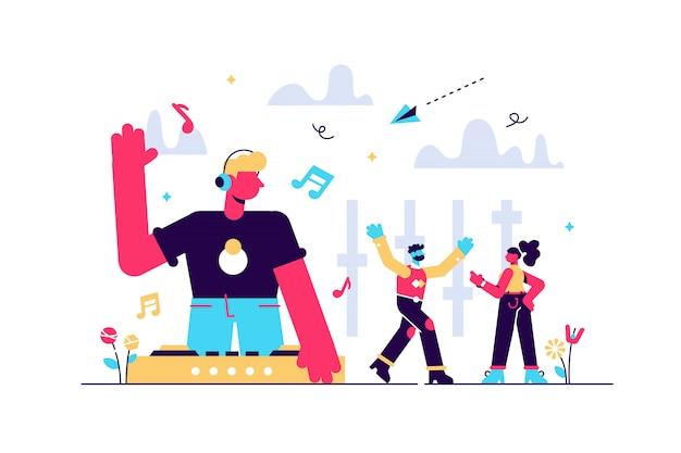 音楽を再生するターンテーブルでヘッドフォンでdjをし、パーティーで踊る小さな人々。電子音楽、dj音楽セット、djingスクールコースのコンセプト。明るく活気のあるバイオレット分離イラスト