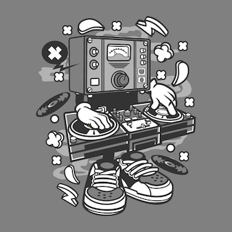 Dj instrument cartoon