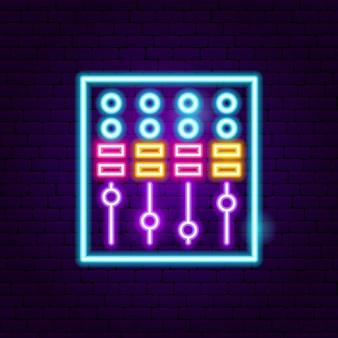 Dj mixer neon sign. vector illustration of music promotion.