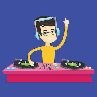 Dj mixing music on turntables illustration.