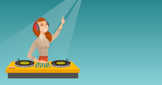 Dj mixing music on the turntables.
