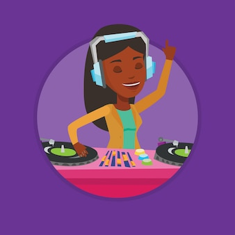 Dj mixing music on turntables.
