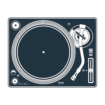 Dj mixing turntable set vector illustration