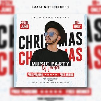 Dj music christmas social media post instagram banner template design
