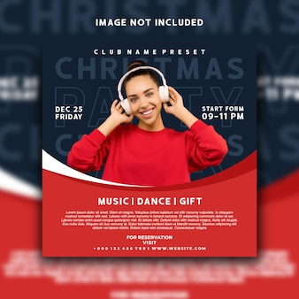 Dj音楽イベントクリスマスソーシャルメディア投稿instagramバナーテンプレートデザイン