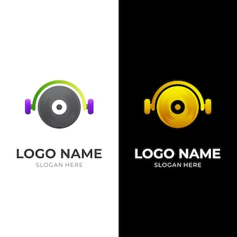 Dj music logo, headset and record, combination logo with 3d silver and gold color style