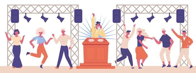 Djミュージカルパーティー。ナイトクラブのダンスキャラクターとdjキャラクター