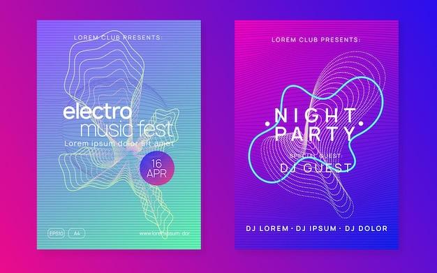 Dj вечеринка. динамическая плавная форма и линия. набор обложек для современных шоу. неоновая вечеринка ди-джея. электро танцевальная музыка. техно-транс. электронное звуковое мероприятие. афиша клубного фестиваля.