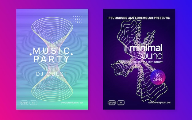 Dj party. dynamic fluid shape and line. modern concert brochure set. neon dj party flyer.