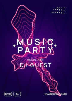 Dj party. dynamic gradient shape and line. commercial show brochure concept. neon dj party flyer. electro dance music. techno trance. electronic sound event. club fest poster.