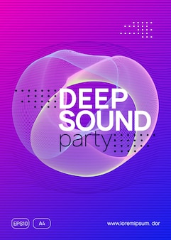 Dj party. dynamic gradient shape and line. cool discotheque banner template. neon dj party flyer. electro dance music. techno trance. electronic sound event. club fest poster.