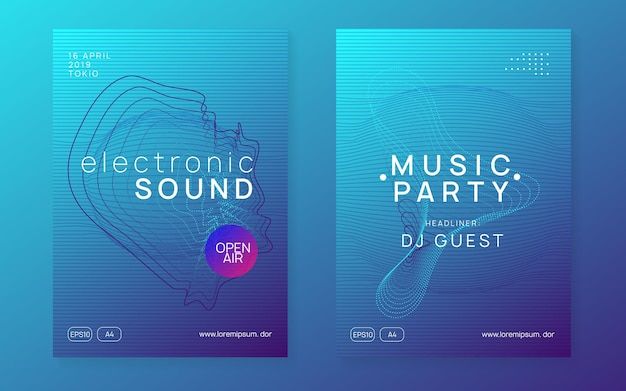 Dj party. dynamic gradient shape and line. digital discotheque brochure set. neon dj party flyer. electro dance music. techno trance. electronic sound event. club fest poster.