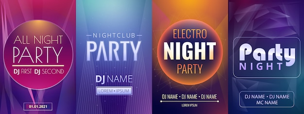 Dj party night poster template set, cartoon style
