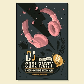 Dj party дизайн плаката листовка со сломанными наушниками иллюстрация