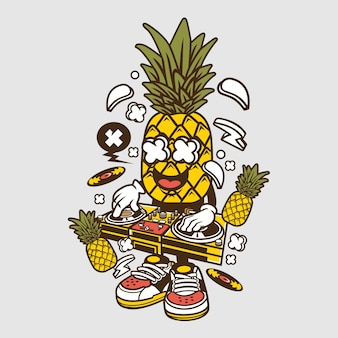 Dj pineapple cartoon
