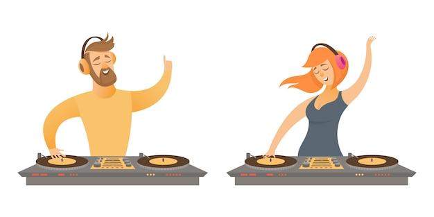 Dj play and mixing music. male and female character in cartoon style isolated on white background.
