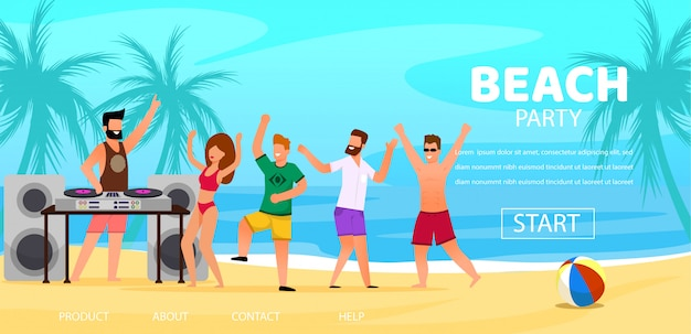 Dj play music outdoors at beach party illustration