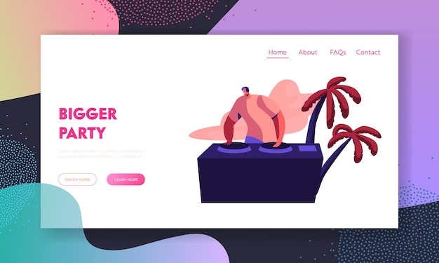 Dj playing modern music on beach party. website landing page template