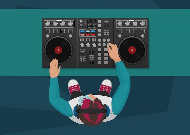 Dj playing vinyl night club concept