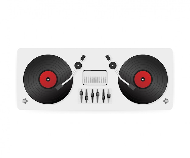 Dj playing vinyl. top view. dj interface workspace mixer console turntables. .