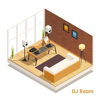 Dj set in living room isometric interior view with speakers vinyl records players turntables audio mixer illustration