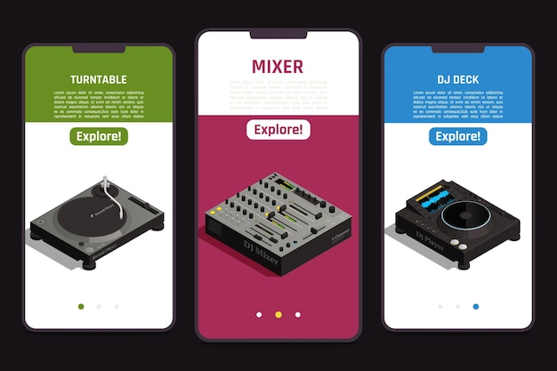 Dj  tools  online  3  isometric  mobile  smartphones  screens  set  with  turntable  mixer  deck  equipment  info    illustration