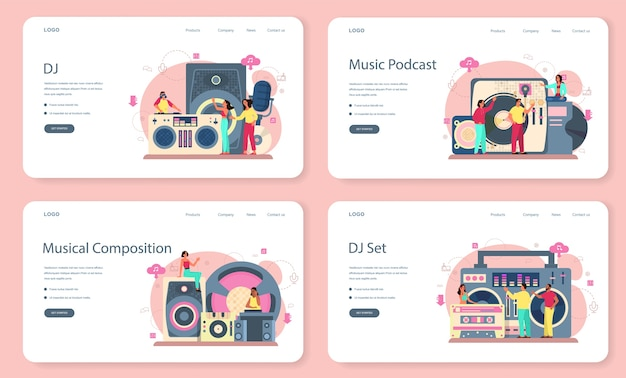 Dj web banner or landing page set. person standing at turntable mixer make music in club. club music composer with headphones. isolated flat vector illustration
