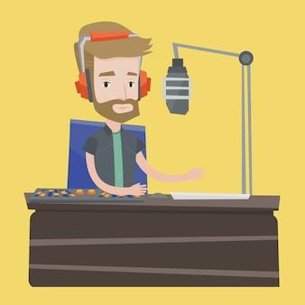 ラジオのイラストに取り組んでいる男性dj
