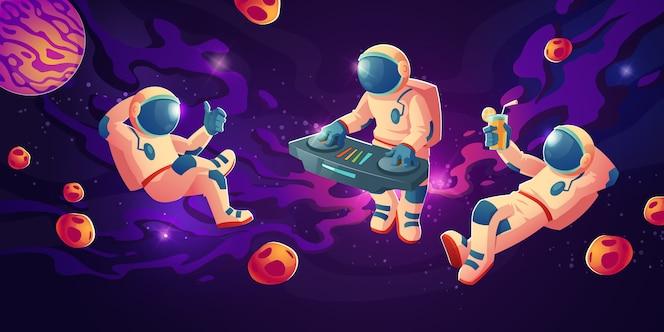オープンスペースでターンテーブルを持つ宇宙飛行士dj