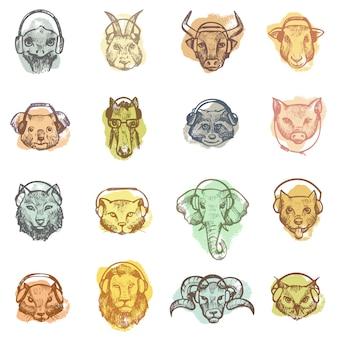 ヘッドフォンの動物の頭は、ヘッドギアまたはイヤホンが白いスペースで分離された漫画の野生のdjの音楽イラストセットを聞いてイヤホンで動物のようなキャラクターをベクトルします。