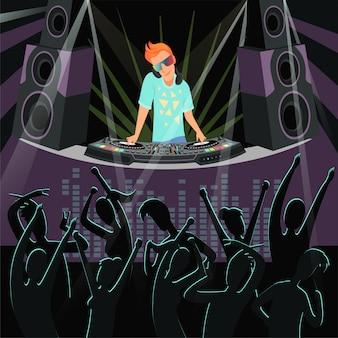 夜のクラブでディスコパーティーのdjパーティーイラスト
