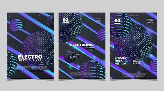 エレクトロサウンドパーティー音楽ポスター。電子クラブの深い音楽。音楽イベントディスコトランスサウンド。夜のパーティの招待状。 djチラシポスター。