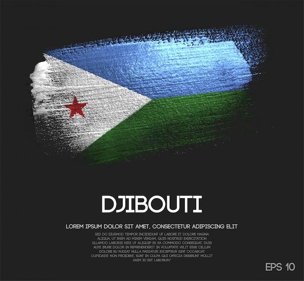 Djibouti flag made of glitter sparkle brush paint