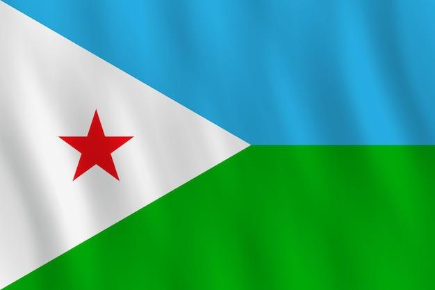 手を振る効果のあるジブチの国旗、公式のプロポーション。