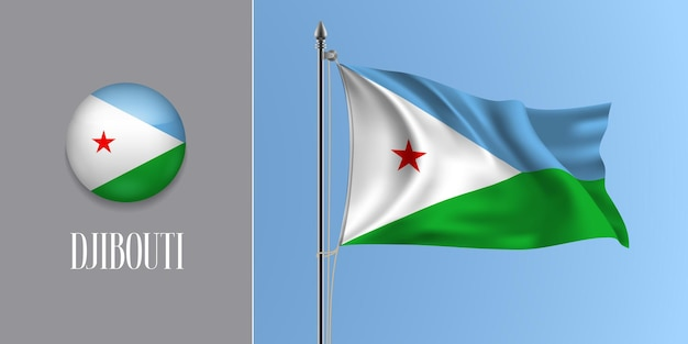 Djibouti waving flag on flagpole and round icon vector illustration. realistic 3d mockup with design of flag and circle button