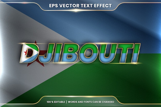 Djibouti with its national country flag, editable text effect style with gradient gold color concept