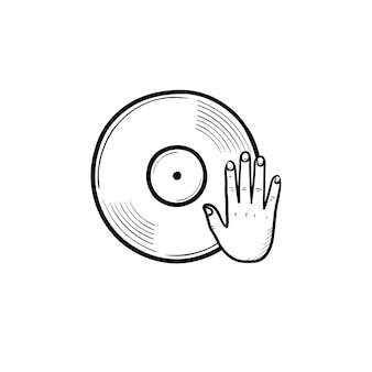 Djing and remixing hand drawn outline doodle icon