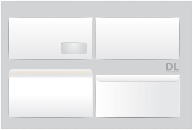 Стандартные белые бумажные конверты. для офисного документа или письма. пустые макеты. белый пустой почтовый конверт с прозрачным окном. размер dl, евро