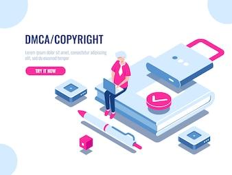 DMCAデータ著作権等尺性のアイコン、コンテンツのセキュリティ、鍵付き書籍、電子デジタル契約