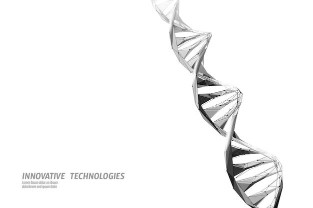 Dna 3d 화학 분자 구조 낮은 폴리. 다각형 삼각형 포인트 라인 건강한 세포 부분. 현미경 과학 의학 게놈 공학 벡터 일러스트 레이 션 미래 비즈니스 기술