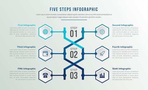 Шаблон абстрактной медицинской инфографики днк с шестью значками использует шестиугольник в качестве рамки и три шага программы. вариация палитры синих цветов.