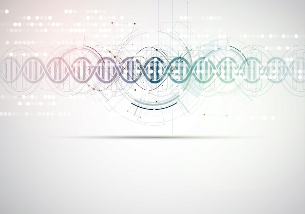 Dna 및 의료 및 기술 배경. 미래 분자 구조 프리젠 테이션