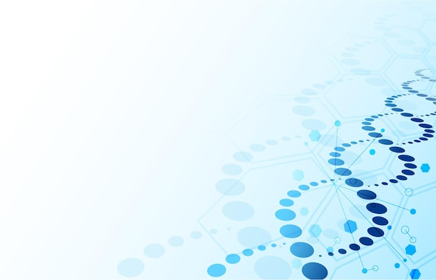Dna 배경. 블루 추상 나선 생명 공학 및 육각 분자 텍스처