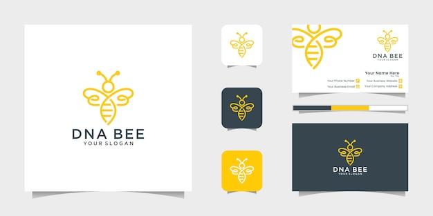 Dna 꿀벌 꿀 창조적 인 아이콘 기호 로고 라인 아트 스타일 선형 로고. 로고 디자인, 아이콘 및 명함