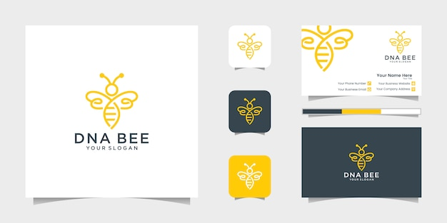Dna bee honey creative icon symbol logo line art style linear logotype. logo design, icon and business card