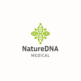 Спираль клетки днк с зеленым листом природы логотип значок дизайн шаблона плоский вектор