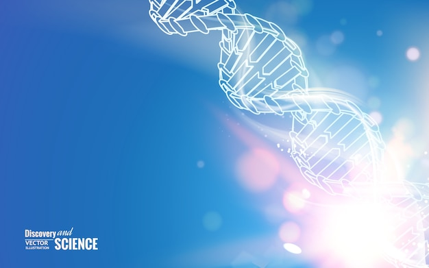 Dna chain on abstract science background.