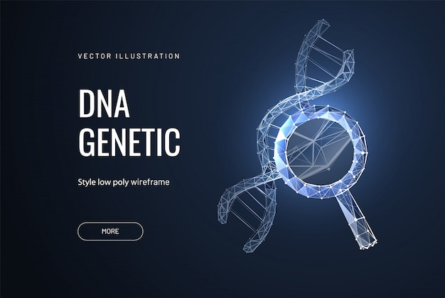 Dna chain in magnifying glass