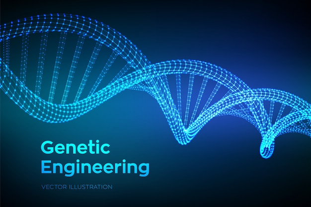 Dna code sequence. wireframe dna molecules structure mesh.