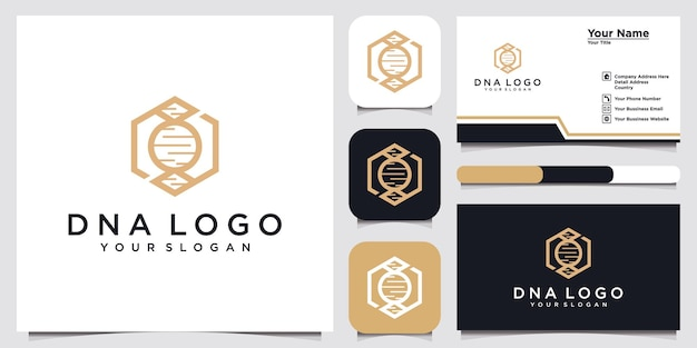 Dna concept logo template and business card